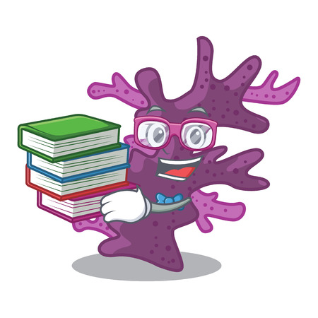 Student with book purple coral reef the shape mascot vector illustration