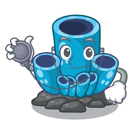 Doctor blue sponge coral the shape cartoon vector illustration Reklamní fotografie - 124189443