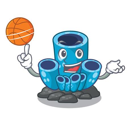 With basketball blue sponge coral the shape cartoon vector illustration