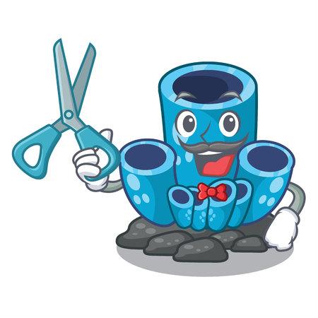 Barber blue sponge coral the shape cartoon vector illustration Reklamní fotografie - 124189447