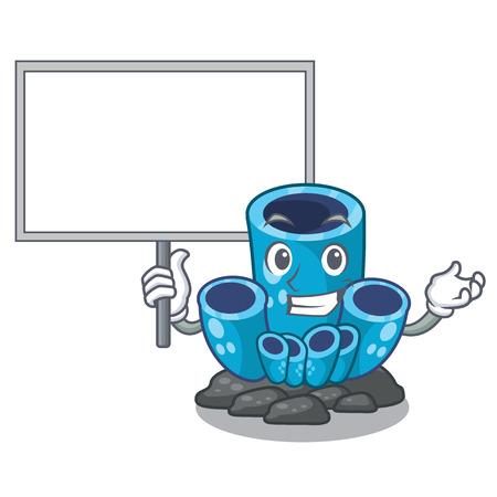 Bring board blue sponge coral the shape cartoon vector illustration