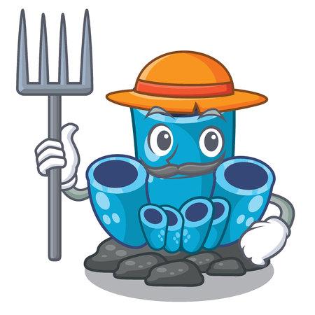 Farmer blue sponge coral the shape cartoon vector illustration