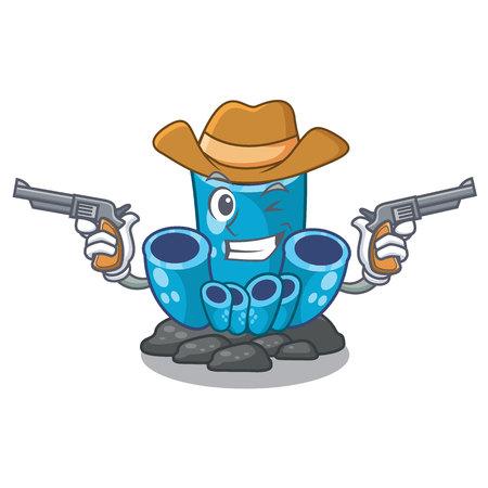 Cowboy blue sponge coral the shape cartoon vector illustration