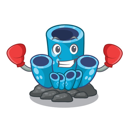 Boxing blue sponge coral the shape cartoon vector illustration Ilustração