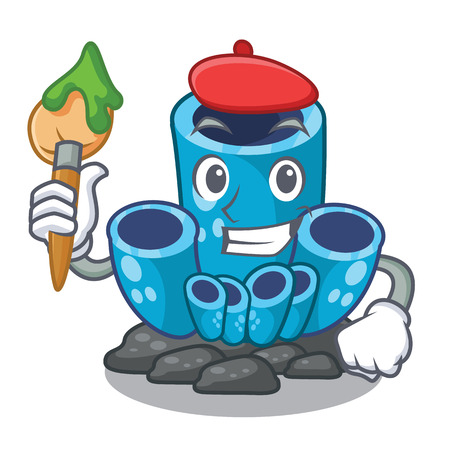 Artist blue sponge coral the shape cartoon vector illustration