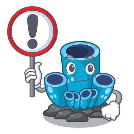 With sign blue sponge coral the shape cartoon vector illustration Reklamní fotografie - 124189454