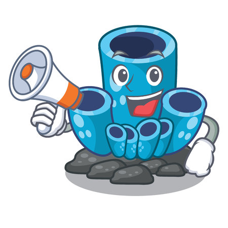 With megaphone blue sponge coral the shape cartoon vector illustration