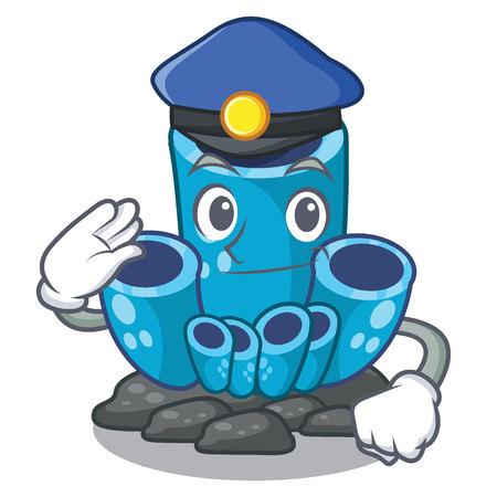 Police blue sponge coral the shape cartoon vector illustration Ilustrace