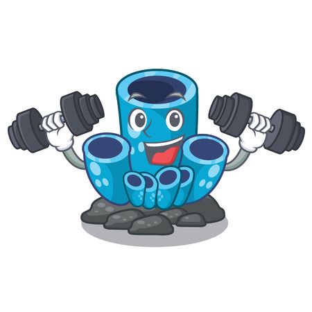 Fitness blue sponge coral the shape cartoon vector illustration