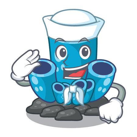 Sailor blue sponge coral the shape cartoon vector illustration Иллюстрация