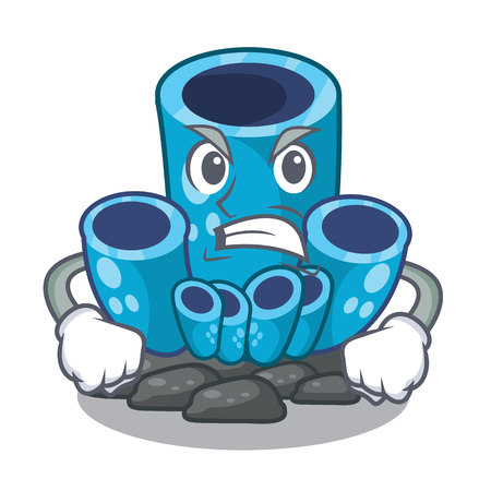 Angry blue sponge coral isolated the mascot vector illustration Illustration