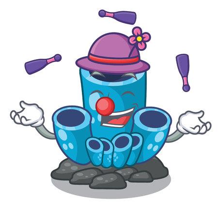 Juggling blue sponge coral under sea cartoon vector illustration