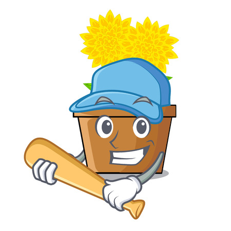 Playing baseball dahlia flower in the cartoon shape vector illustration Çizim