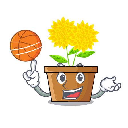 With basketball dahlia flower in the cartoon shape vector illustration