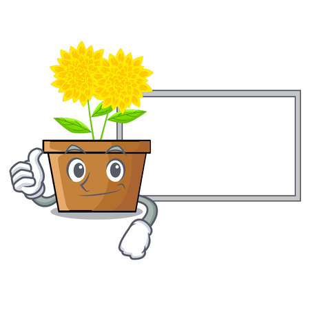 Thumbs up with board dahlia flower in the cartoon shape vector illustration