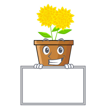 Grinning with board dahlia flower in the cartoon shape vector illustration 矢量图像