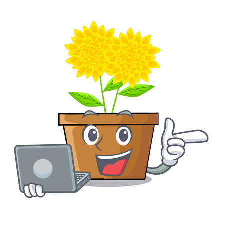 With laptop dahlia flower in the cartoon shape vector illustration