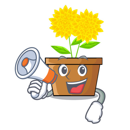 With megaphone dahlia flower in the cartoon shape vector illustration