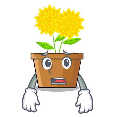 Afraid dahlia flower in the mascot stem vector illustration