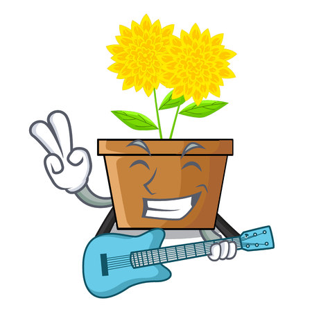 With guitar dahlia flower in the mascot stem vector illustration