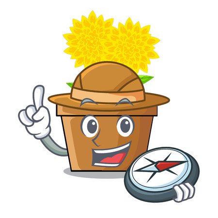 Explorer dahlia flower in the mascot stem vector illustration Illustration