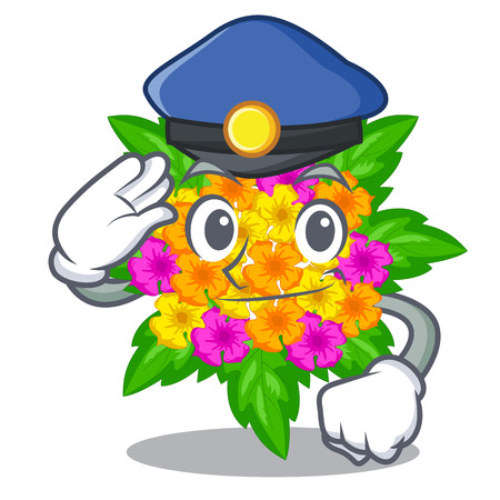 Police lantana flowers in the mascot pots vector illustration