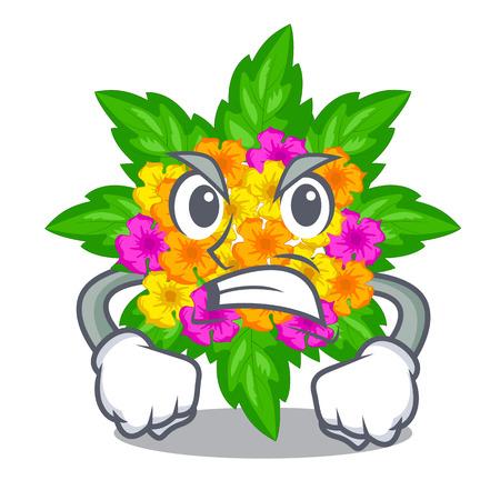 Angry lantana flowers in the cartoon shape vector illustration