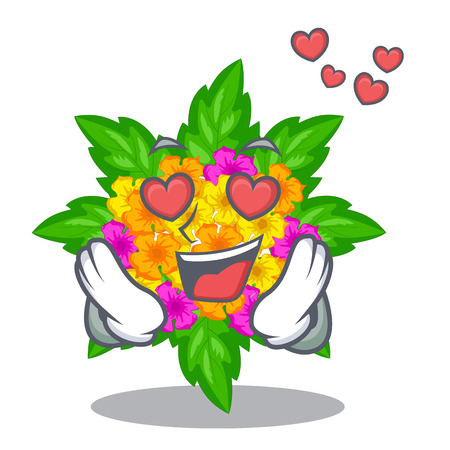 In love lantana flowers in the cartoon shape vector illustration