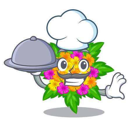 Chef with food lantana flowers in the cartoon shape vector illustration
