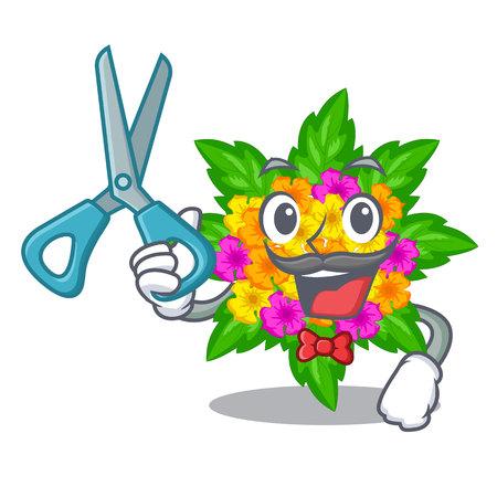 Barber lantana flowers in the mascot pots vector illustration