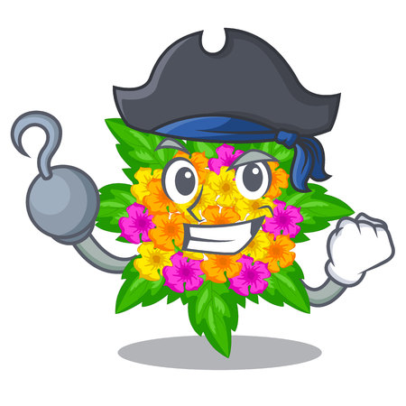 Pirate lantana flowers in the mascot pots vector illustration