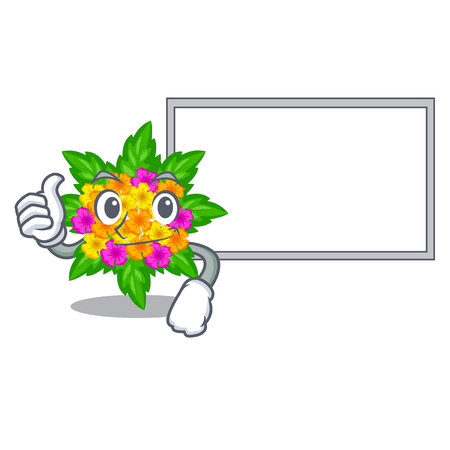 Thumbs up with board lantana flowers in the mascot pots vector illustration