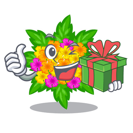 With gift lantana flowers in the cartoon shape vector illustration