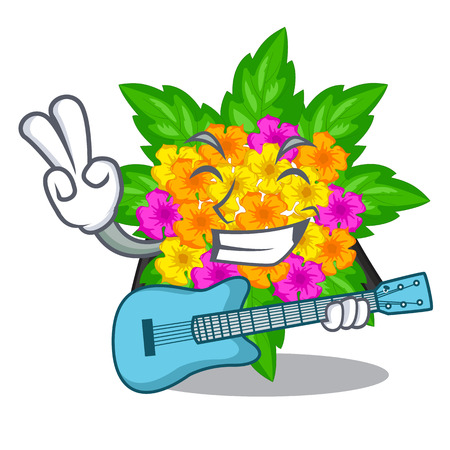 With guitar lantana flowers in the cartoon shape vector illustration