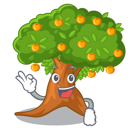 Okay orange tree in the character shape vector illustration