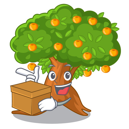 With box orange tree in the character shape vector illustration