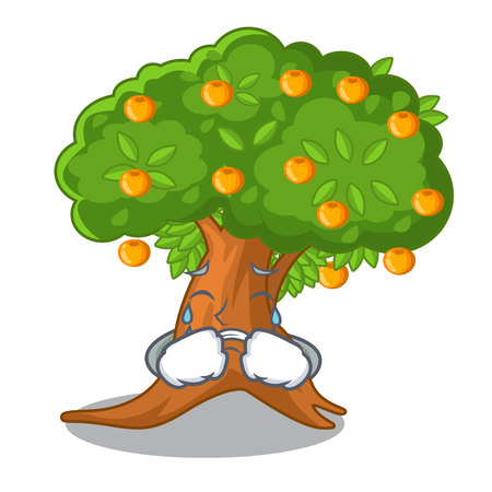 Crying cartoon orange tree beside the house vector illustration