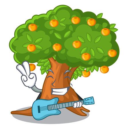 With guitar cartoon orange tree beside the house vector illustration Stock Illustratie