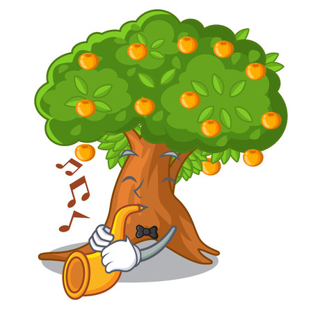 With trumpet cartoon orange tree beside the house vector illustration