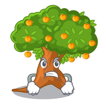 Angry cartoon orange tree beside the house vector illustration Illustration