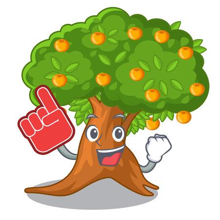 Foam finger cartoon orange tree in the yard vector illustration Ilustração