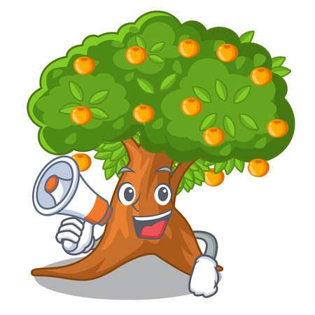 With megaphone orange tree isolated with the mascot vector illustration Vettoriali