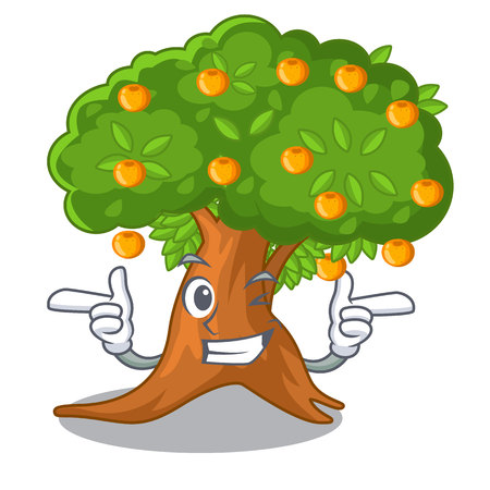 Wink orange tree in the character shape vector illustration