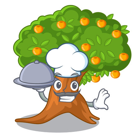 Chef with food cartoon orange tree beside the house vector illustration