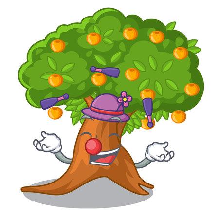 Juggling cartoon orange tree in the yard vector illustration