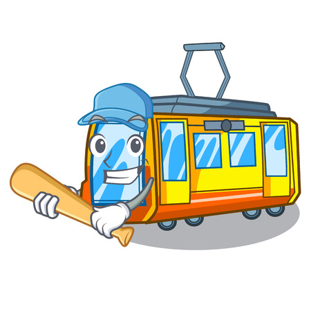 Playing baseball electric train in the character shape vector illustration