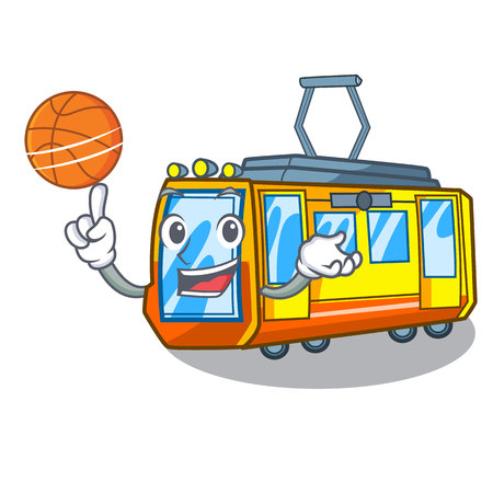 With basketball electric train in the character shape vector illustration