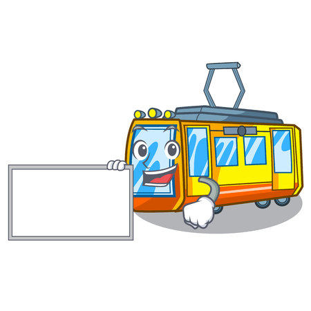 With board electric train in the character shape vector illustration