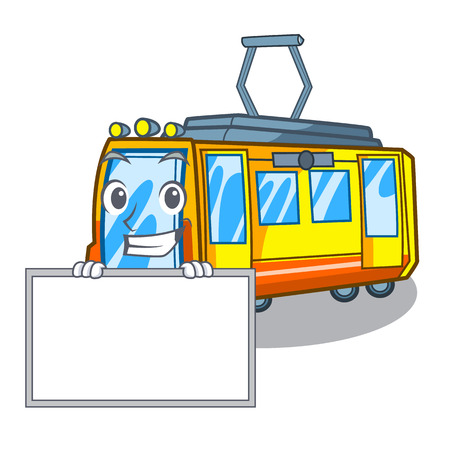 Grinning with board electric train in the character shape vector illustration