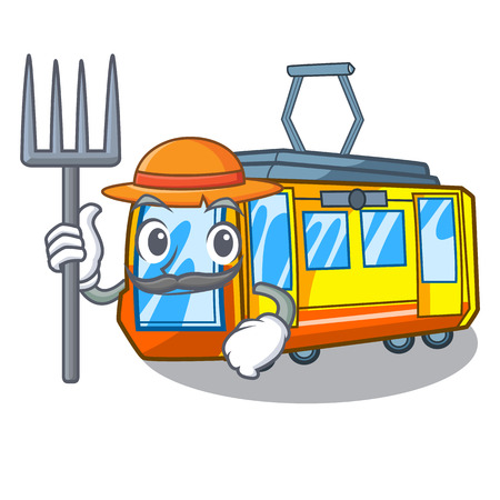 Farmer electric train in the character shape vector illustration